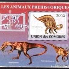 Timbres: UNION DE COMORES 2009 HOJA BLOQUE SELLOS FAUNA PREHISTORICA- DINOSAURIOS- DINOSAURS- DINOSAURIO. Lote 287264298