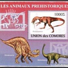 Timbres: UNION DE COMORES 2009 HOJA BLOQUE SELLOS FAUNA PREHISTORICA- DINOSAURIOS- DINOSAURS- DINOSAURIO. Lote 287264358