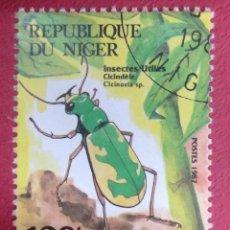 Sellos: REPUBLIQUE DE NIGER. POSTES 1987. INSECTES UTILES CICINDELE.. Lote 288230413