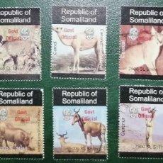 "Sellos: SOMALILANDIA (SOMALIA) 1999 ANIMALES FAUNA - SOBRECARGA ROJA ""GOVT OFFICIAL"" - NUEVOS MNH. Lote 288475528"