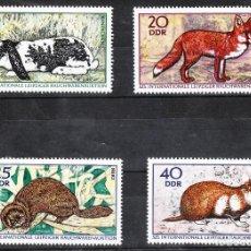 Sellos: ALEMANIA ORIENTAL DDR 1970 IVERT 1234/37 ** FAUNA - ANIMALES DE PELETERÍA. Lote 288542168