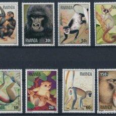 Sellos: RWANDA 1978 IVERT 820/7 *** FAUNA - MONOS - CHIMPANCES. Lote 288664578
