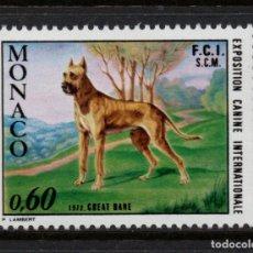 Sellos: MONACO 880** - AÑO 1972 - FAUNA - PERROS - EXPOSICION CANINA DE MONTECARLO. Lote 289882668