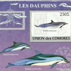 Sellos: UNION DE COMORES 2009 HOJA BLOQUE SELLOS FAUNA MARINA CETACEOS- DELFINES- DELFIN. Lote 291476303