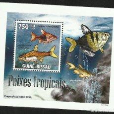 Sellos: GUINEA 2009 HOJA BLOQUE SELLOS FAUNA MARINA - PECES TROPICALES - PEIXES. Lote 291478098