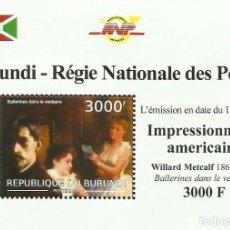 Sellos: BURUNDI 2012 HOJA BLOQUE SELLOS ARTE PINTURA IMPRESIONISTA AMERICANOS- METCALF- IMPRESIONISMO. Lote 291482593
