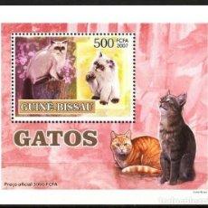 Sellos: GUINEA 2007 HOJA BLOQUE SELLOS FAUNA GATOS DE ASIA - FELINOS - CATS - CHATS - GATO. Lote 291878608