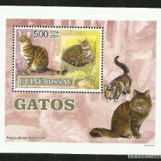 Sellos: GUINEA 2007 HOJA BLOQUE SELLOS FAUNA GATOS DE ASIA - FELINOS - CATS - CHATS - GATO. Lote 291878673