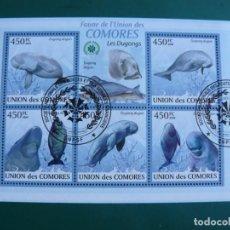 Sellos: HOJA BLOQUE DE ISLAS COMORES DUGONS. Lote 292166488