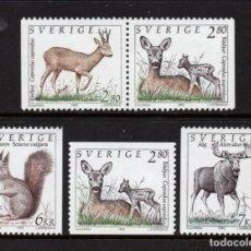Sellos: SUECIA 1686/86A** - AÑO 1992 - FAUNA - ANIMALES SALVAJES. Lote 292614203