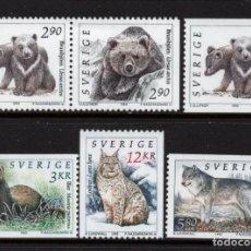 Sellos: SUECIA 1738/38A** - AÑO 1992 - FAUNA - ANIMALES SALVAJES. Lote 292616018