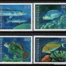 Sellos: MICRONESIA 246/49** - AÑO 1993 - FAUNA - PECES. Lote 295355023