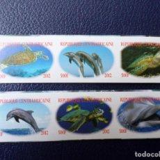 Sellos: .REPUBLICA CENTROAFRICANA, 2012, TORTUGAS Y DELFINES. Lote 295512618