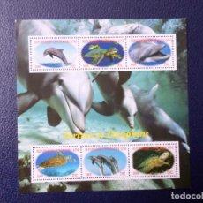 Sellos: .REPUBLICA CENTROAFRICANA, 2012, HOJITA BLOQUE TORTUGAS Y DELFINES. Lote 295513363