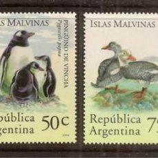 Sellos: ARGENTINA (ISLAS MALVINAS). FAUNA 4 VALORES 1994. ***. Lote 295544773