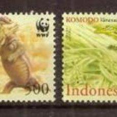 Sellos: INDONESIA. 2000. DRAGON DE KOMODO. 4 VALORES ***. WWF. Lote 297086298