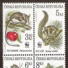 Sellos: CHECA REPUBLICA. 4 VALORES ***. ROEDORES. WWF. Lote 297093118