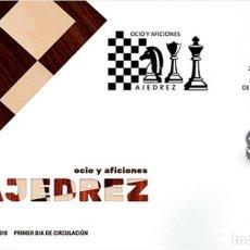 Sellos: ESPAÑA 2018 OCIO Y AFICIONES: AJEDREZ FDC ED 5237. Lote 136305170