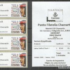 Sellos: ESPAÑA SPAIN ATM MADRID CHAMARTIN 2019 LETRAS TARIFA A X 4 CON RECIBO. Lote 147187029