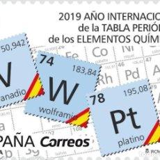 Sellos: ESPAÑA 2019 CIENCIA. AÑO INTERNACIONAL DE LA TABLA PERIÓDICA DE LOS ELEMENTOS QUÍMICOS MNH ED 5286 . Lote 147915434