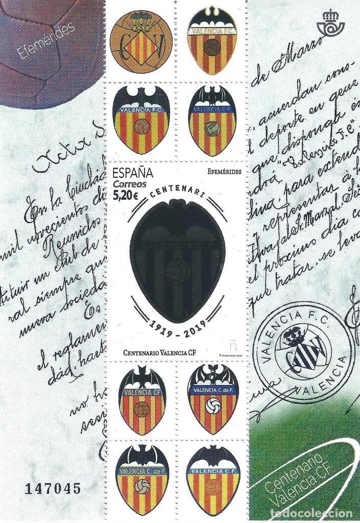 EFEMÉRIDES. CENTENARIO DEL VALENCIA CF. LUJO. (Sellos - España - Felipe VI)