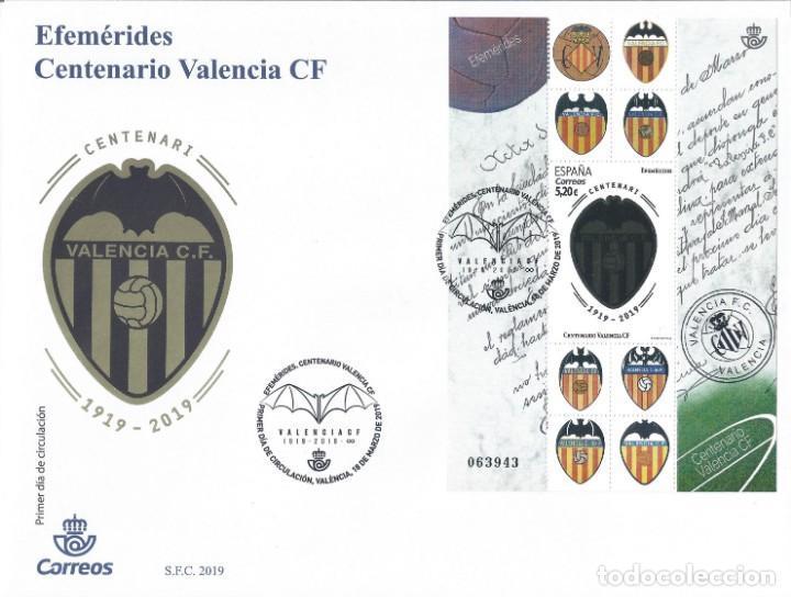 EFEMÉRIDES. CENTENARIO DEL VALENCIA CF. SOBRE PRIMER DÍA DE CIRCULACIÓN 18-MARZO-2019. LUJO. (Sellos - España - Felipe VI)