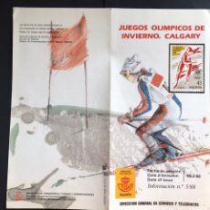 Sellos: SELLOS JUEGOS OLIMPICOS INVIERNO CALGARY. FOLLETO INFORMATIVO. Lote 170508893
