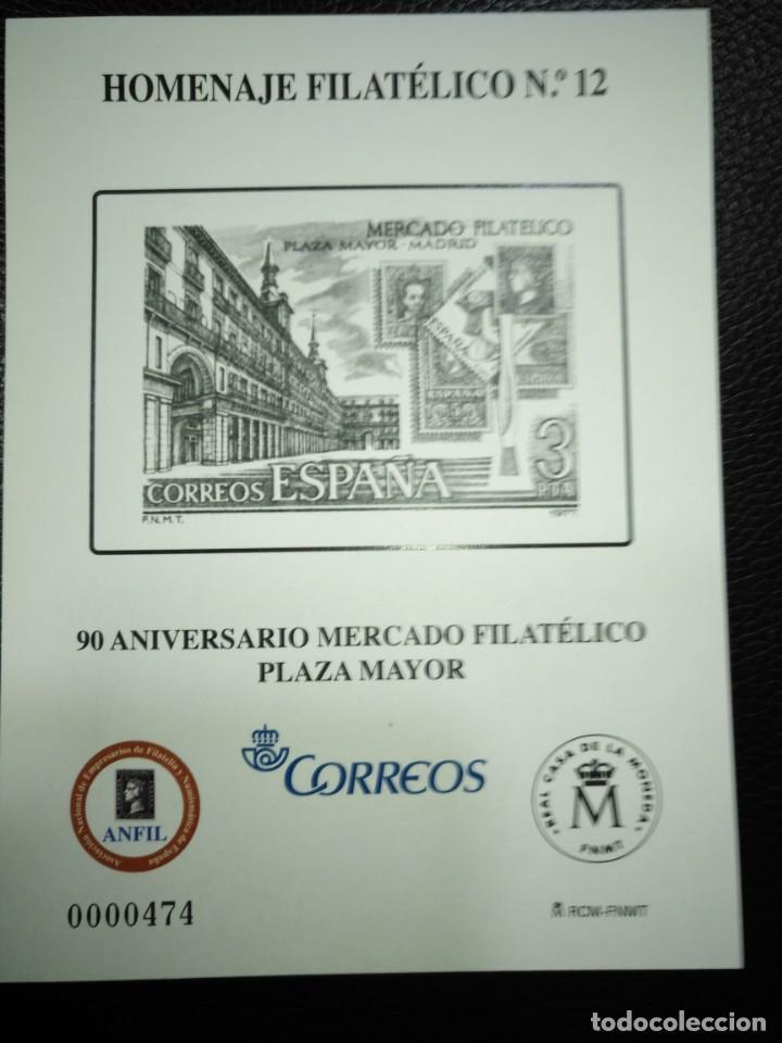 HOMENAJE FILATÉLICO 12 90 ANIVERSARIO PLAZA MAYOR ESPAÑA (Sellos - España - Felipe VI)