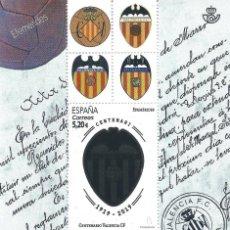 Sellos: EFEMÉRIDES. CENTENARIO DEL VALENCIA CF. LUJO.. Lote 171733550