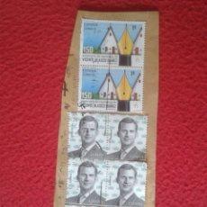 Sellos: ESPAÑA SELLOS USADOS EN FRAGMENTO DE PAPEL STAMPS FELIPE VI VICENTE BLASCO IBAÑEZ SELLO VER FOTO. Lote 173441397