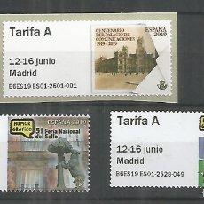 Sellos: ESPAÑA ATM 51 FERIA NACIONAL DEL SELLO 3 VALORES TARIFA A MAQUINA B6.... Lote 195434650