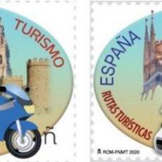Sellos: ESPAÑA 2020 TURISMO. RUTAS TURÍSTICAS SOBRE DOS Y CUATRO RUEDAS 2V MNH ED 5374-5 YV 5109-10. Lote 190909171