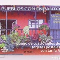 Timbres: CARNET DE POSTALES MINIATURA / SELLOS ADHESIVOS PUEBLOS CON ENCANTO EN USADO, 2017 - EDIFIL 5126/29. Lote 214423775