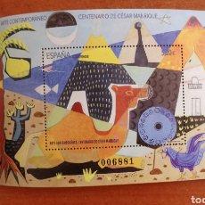 Sellos: ESPAÑA N°5319 HB ARTE. CENTENARIO DE CÉSAR MANRIQUE MNH (FOTOGRAFÍA ESTÁNDAR). Lote 263108175