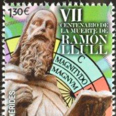 Selos: ESPAÑA 2016 EDIFIL 5052 SELLO ** CENTENARIO MUERTE RAMON LLULL ESCULTURA MALLORCA MICHEL 5064. Lote 219376908