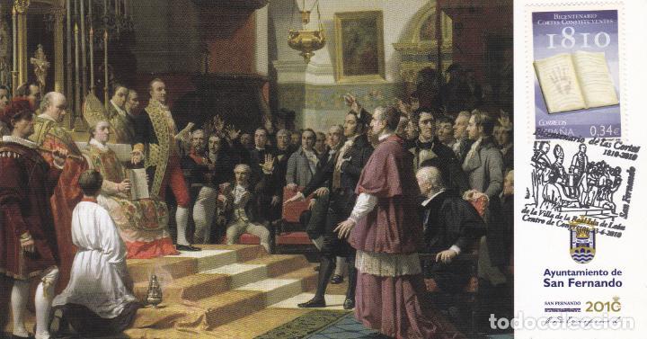 ESPAÑA.- TARJETA CON SELLO Y MATASELLOS DEL BICENTENARIO DE LAS CORTES DE CADIZ 1810 (Sellos - España - Felipe VI)