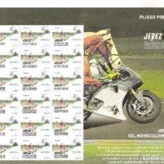 Sellos: PLIEGO PREMIUN JEREZ MUNDIAL DE MOTOCICLISMO. Lote 245930010