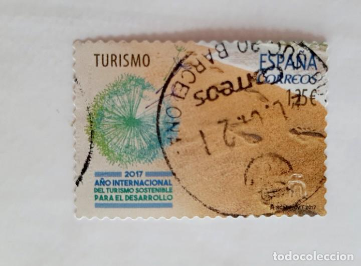 SELLO 1,25 € 2017, AÑO INTERNACIONAL DEL TURISMO SOSTENIBLE PARA EL DESARROLLO, EDIFIL 5114 USADO (Sellos - España - Felipe VI)