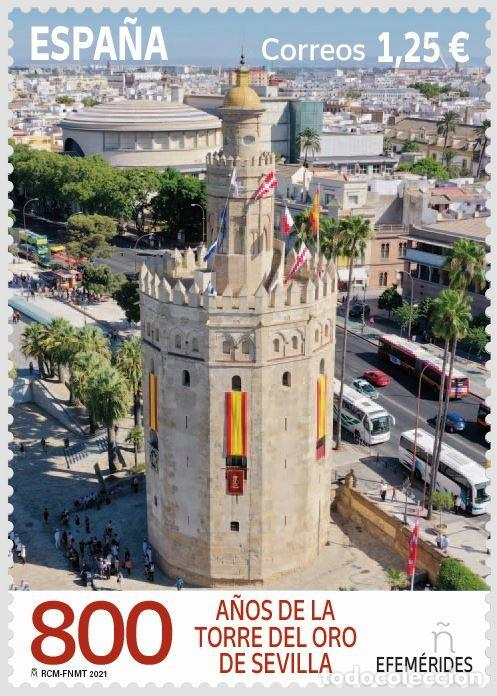 ESPAÑA 2021 VIII CENTENARIO DE LA TORRE DEL ORO DE SEVILLA MNH ED 5494 YT 5234 (Sellos - España - Felipe VI)