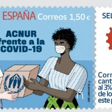 Sellos: ESPAÑA 2021 - SELLO SOLIDARIO ACNUR COVID-19 CORONAVIRUS - NUEVO MNH. Lote 269580993