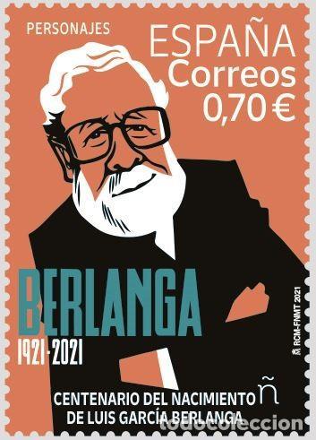 ESPAÑA 2021 PERSONAJES CENTENARIO DEL NACIMIENTO DE LUIS GARCÍA BERLANGA MNH ED 5498 YT 5237 (Sellos - España - Felipe VI)