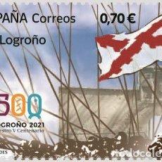 Sellos: ESPAÑA 2021 EFEMÉRIDES LOGROÑO 2021 NUESTRO V CENTENARIO MNH ED 5497 YT 5236. Lote 269967878