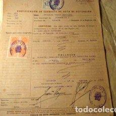 Sellos: FISCALES ESPANA ALMERIA ACTA DE DEFUNCION 1946. Lote 277400448