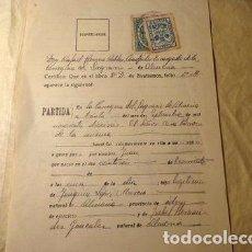 Sellos: FISCALES ESPANA ALMERIA CERTIFICADO BAUTISMO 1916. Lote 277403833