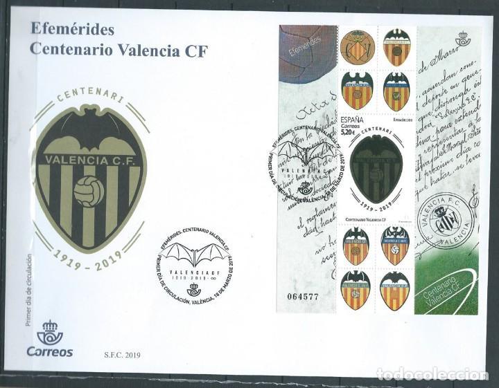 ESPAÑA 2019 HB CENTENARIO VALENCIA CF FDC ED HB-5299 YT F5035 (Sellos - España - Felipe VI)