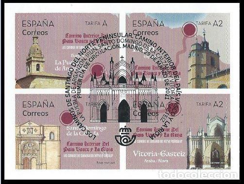 ESPAÑA 2021 CAMINO DE SANTIAGO: PAÍS VASCO-LA RIOJA SET 4V USADO ED 5477-80 YT 5218-21 (Sellos - España - Felipe VI)