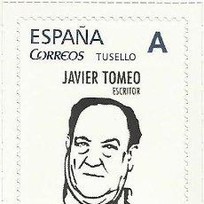 Sellos: HOMENAJE AL ESCRITOR JAVIER TOMEO. ZARAGOZA, ARAGÓN, LITERATURA. Lote 287545203