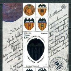 Sellos: CENTENARIO VALENCIA CF 1919 / 2019 - HOJITA BLOQUE EDIFIL 5299. Lote 287935943