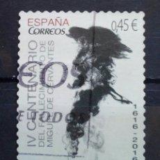 Sellos: ESPAÑA 2016 IV CENTENARIO MUERTE DE CERVANTES SELLO USADO. Lote 288746028