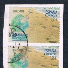 Sellos: ESPAÑA 2017 TURISMO SIOSTENIBLE FRAGMENTO DOS SELLOS USADOS EDIFIL 5114. Lote 293665433